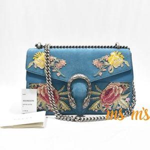 NWT Gucci Dionysus Blue Suede Floral Shoulder Bag